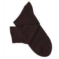 Chaussettes lisses fil d'Ecosse marron foncé