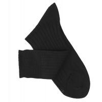 Chaussettes à côtes fil d'Ecosse noir