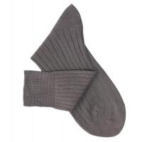Chaussettes à côtes fil d'Ecosse gris