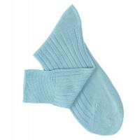Chaussettes à côtes fil d'Ecosse turquoise