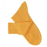 Chaussettes à côtes fil d'Ecosse jaune orangé