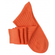 Mi-bas à côtes fil d'Ecosse orange