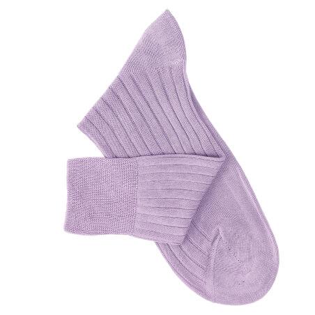 Chaussettes à côtes fil d'Ecosse parme