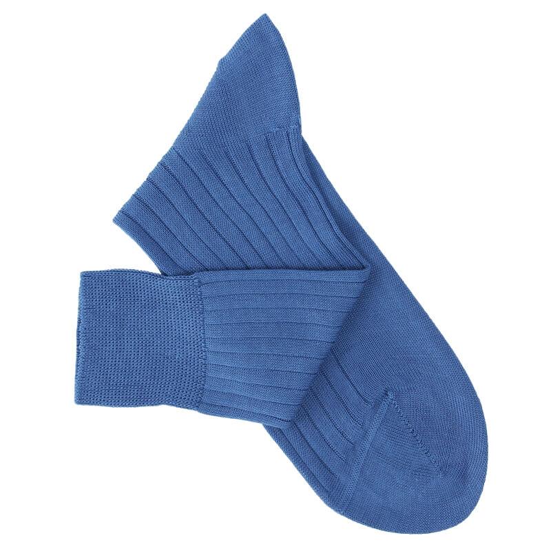 Chaussettes à côtes fil d'Ecosse bleu vif