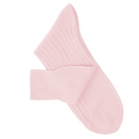 Chaussettes à côtes fil d'Ecosse rose pâle