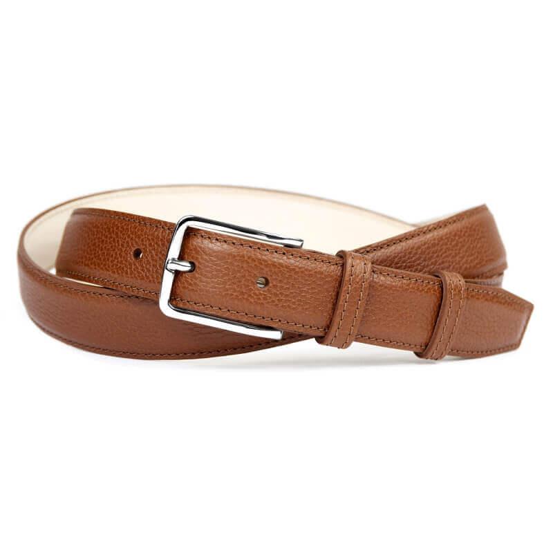 Grained Leather Belt MC02 - Havana