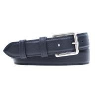 Grained Leather Belt MC03 - Navy Blue